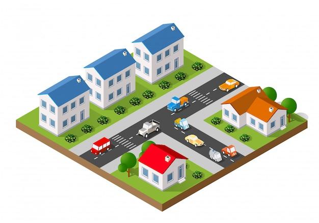 Paysage isométrique d'une petite ville