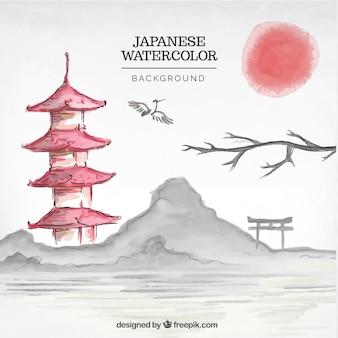 Paysage japonais fond d'aquarelle