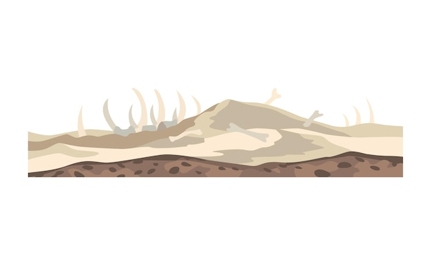 Paysage de jeu. nature de conception de dessin animé. paysage désertique vallée de la mort avec des os. illustration de la section transversale de la tranche de sol isolé sur fond blanc