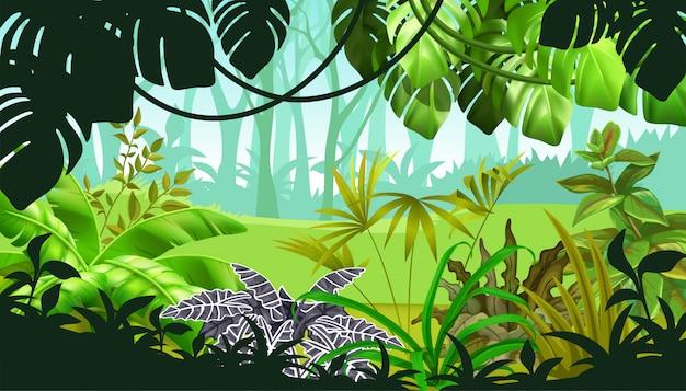 Paysage de jeu avec des plantes tropicales