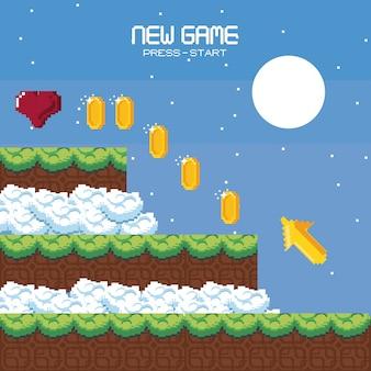 Paysage de jeu vidéo de paysage pixélisé