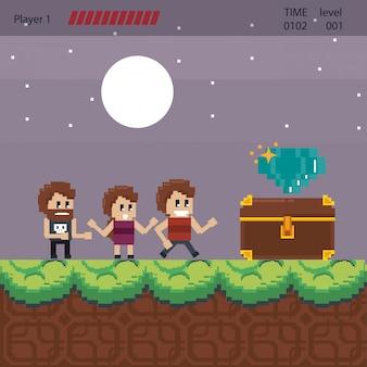 Paysage de jeu vidéo pixélisé pour le combat