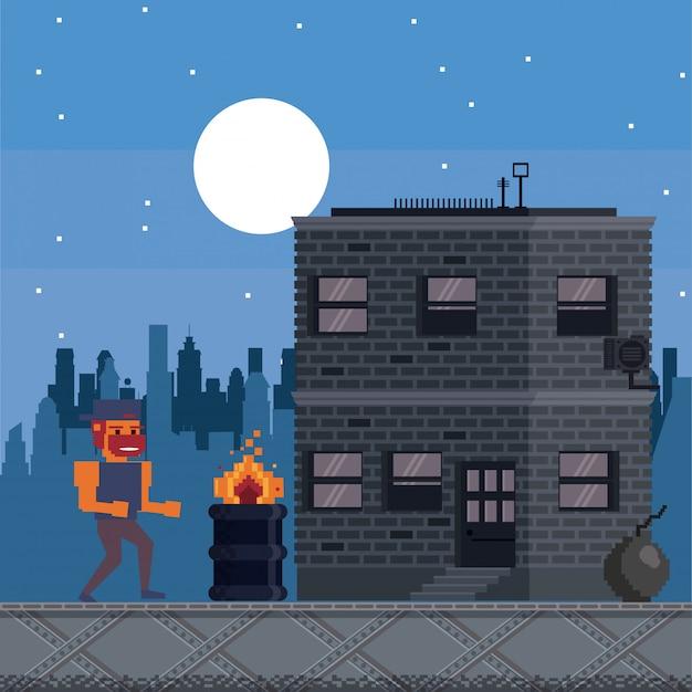 Paysage de jeu vidéo urbain pixélisé pour la lutte