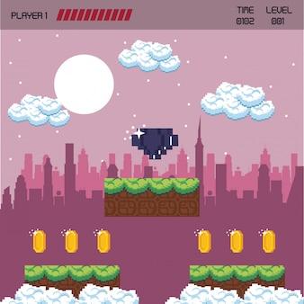 Paysage de jeu vidéo urbain pixellisé