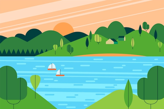 Paysage de lac design plat