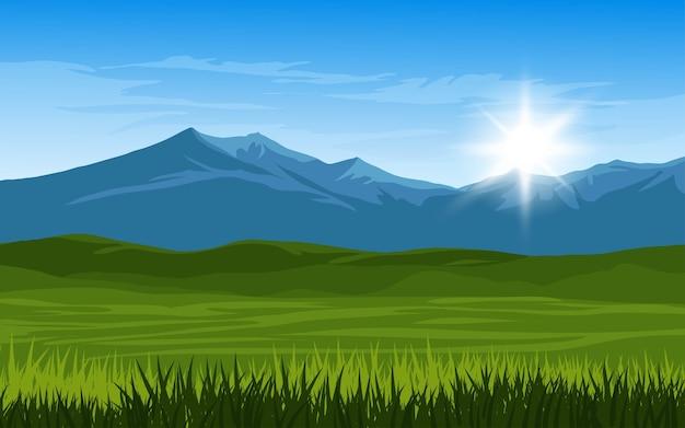 Paysage de lever de soleil de montagne avec champ vide