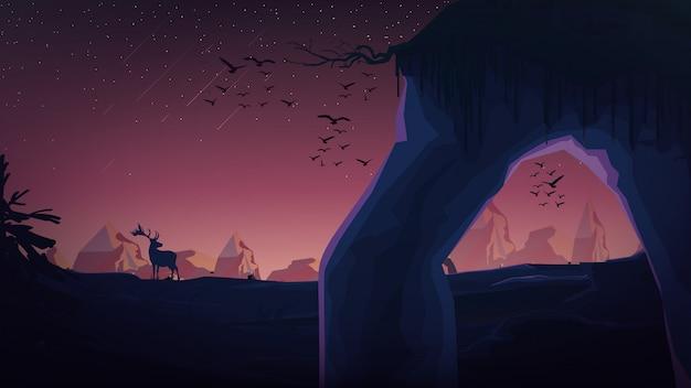 Paysage avec lever de soleil, rochers, montagnes, cerfs, oiseaux, étoiles dans le ciel.