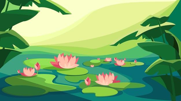 Paysage avec des lotus en fleurs. beau paysage naturel.