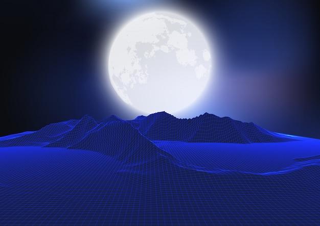 Paysage de lune abstraite avec terrain filaire