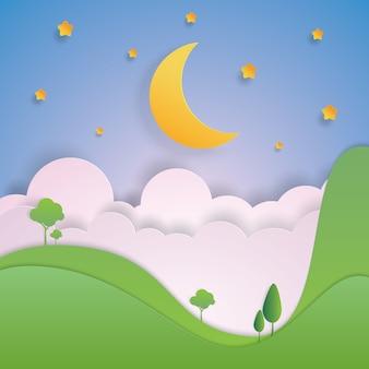 Paysage lune et étoile dans le paysage forestier en papier découpé