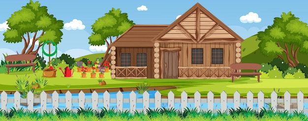 Paysage de maison de campagne rurale