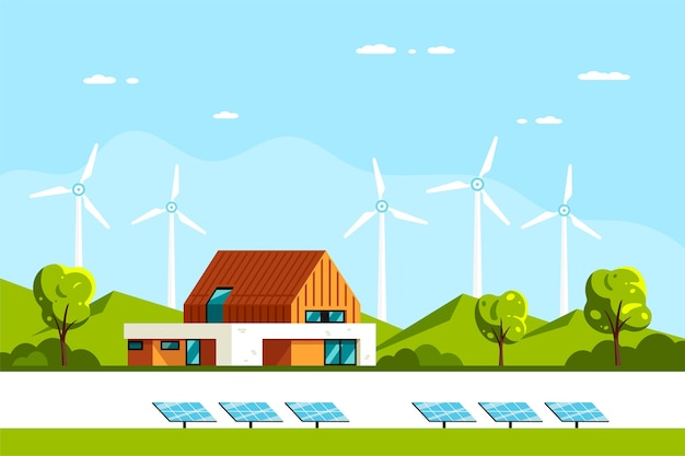 Paysage avec maison moderne, panneaux solaires et éoliennes. eco house, maison économe en énergie, énergie verte.