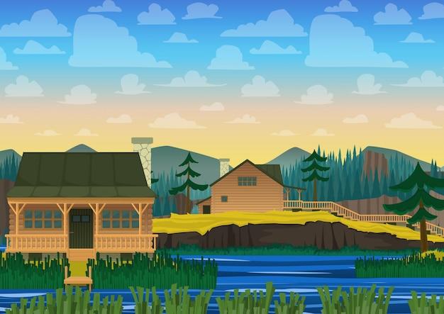 Paysage de maison sur rivière en style dessin animé