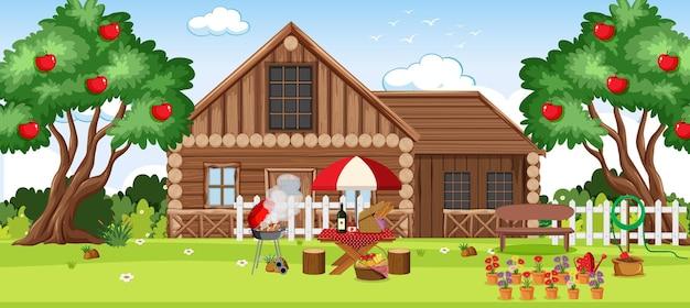 Paysage de maison rurale de campagne