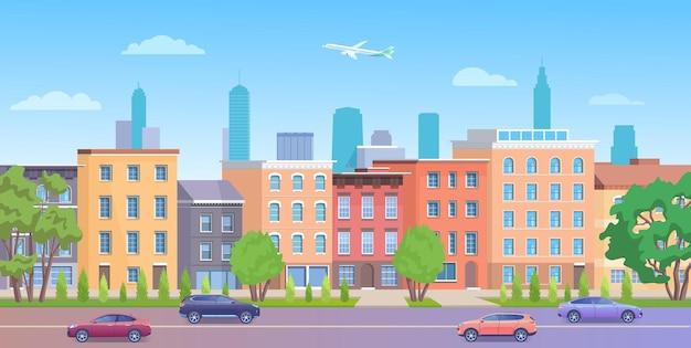 Paysage de maisons de brique de façade de bâtiments de ville de new york