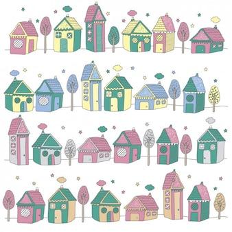 Paysage avec des maisons colorées