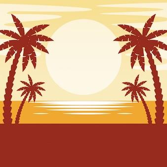 Paysage marin avec coucher de soleil