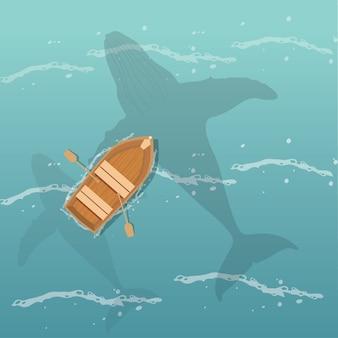 Paysage marin plat avec vue de dessus de bateau et de baleine