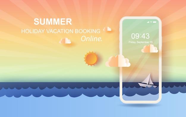 Paysage marin vue wit flottant voilier au coucher du soleil