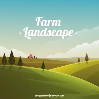 Paysage meadow avec grange