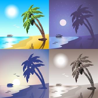 Paysage mer croisière bateau palm beach été tropique île voyage scène concept illustration vectorielle lumière du jour nuit clair de lune coucher de soleil vue ensemble.