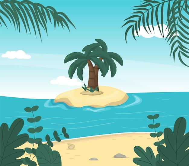 Paysage De Mer D'été Paradisiaque De L'île Côte De La Nature Tropicale. Vecteur Premium