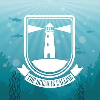 Paysage de mer de fond coloré sous l'eau et logo l'océan appelle le phare de la silhouette