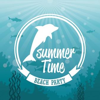 Paysage de mer de fond coloré sous l'eau et logo silhouette de l'heure d'été dauphin