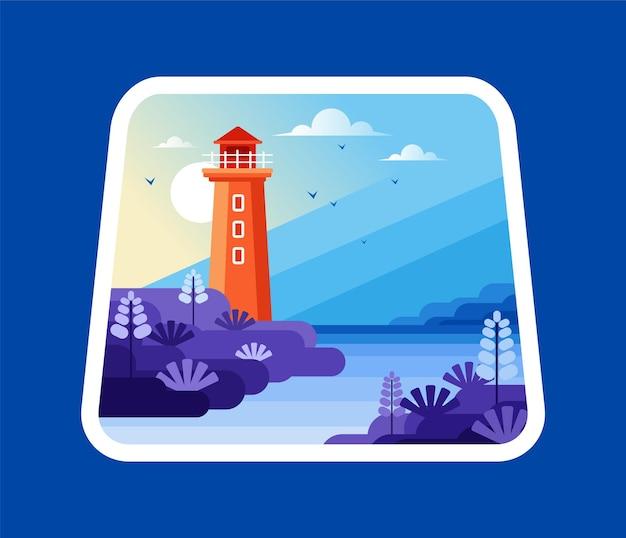 Paysage de mer avec phare