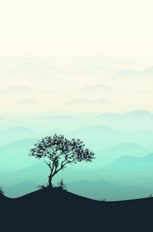 Paysage de modèle de silhouette de montagne et arbre avec montagnes, ciel et bois