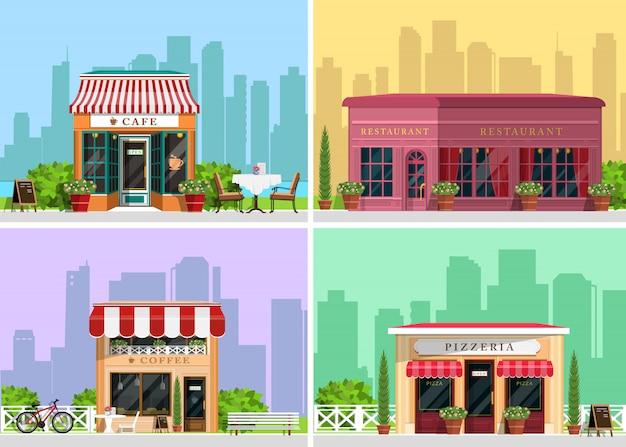 Paysage moderne avec café, restaurant, pizzeria, bâtiment de café, arbres, buissons, fleurs, bancs, tables de restaurant. illustration de style plat.