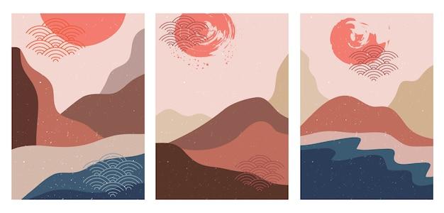 Paysage de montagne abstrait, style japonais.
