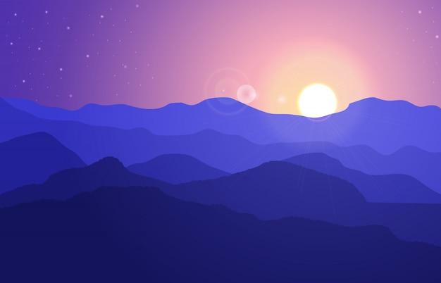 Paysage de montagne avec des collines sous un ciel violet.