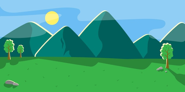 Paysage de montagne avec des collines verdoyantes. fond de vecteur.