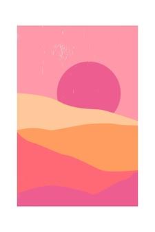 Paysage de montagne contemporain abstrait ou désert au coucher du soleil.
