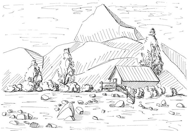 Paysage de montagne dessiné à la main. illustration d'un style d'esquisse.