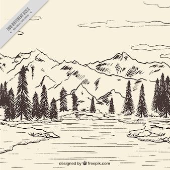 Paysage de montagne esquisse fond