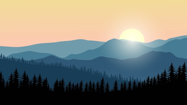 Paysage de montagne avec forêt et lever du soleil