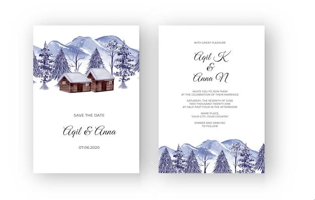 Paysage de montagne d'hiver avec invitation de mariage aquarelle maison