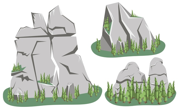 Paysage de montagne isométrique. ensemble de différentes roches de montage