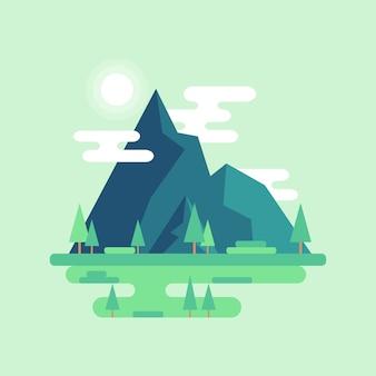 Paysage de montagne plat