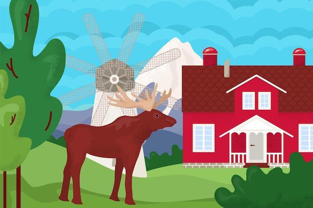 Paysage de montagne en plein air avec maison, illustration vectorielle. arbre forestier nature, moulin, maison de village, élans à la campagne estivale. voyage rural dans les collines, paysage d'herbe de prairie avec ciel bleu.
