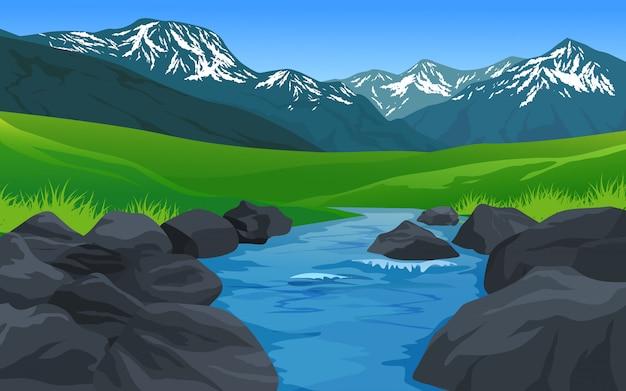 Paysage de montagne avec rivière rocheuse