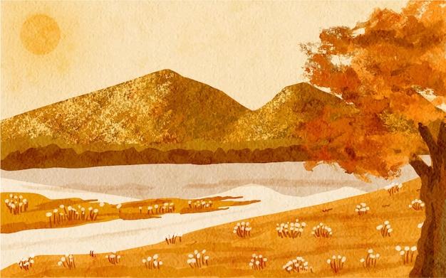 Paysage montagnes et arbre automne paysage fond illustration
