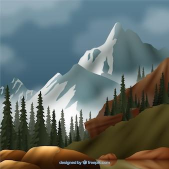 Paysage avec des montagnes blanches