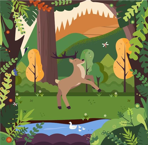 Paysage avec montagnes, bois, cerfs et rivière.