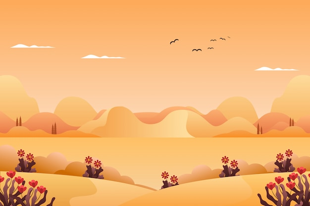 Paysage de montagnes et ciel en illustration de paysage de saison été