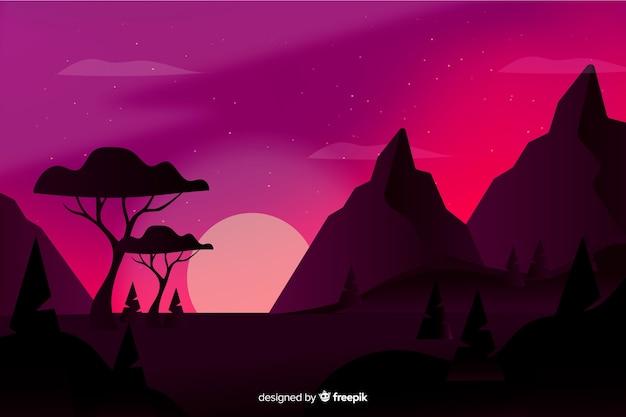 Paysage de montagnes avec ciel rose