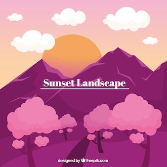 Paysage avec des montagnes, coucher de soleil