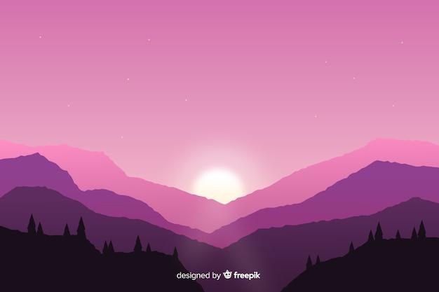 Paysage de montagnes fond rose